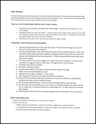 Daycare medical forms use this letter to the parents to explain what lice is and what they need to do now spiritdancerdesigns Image collections
