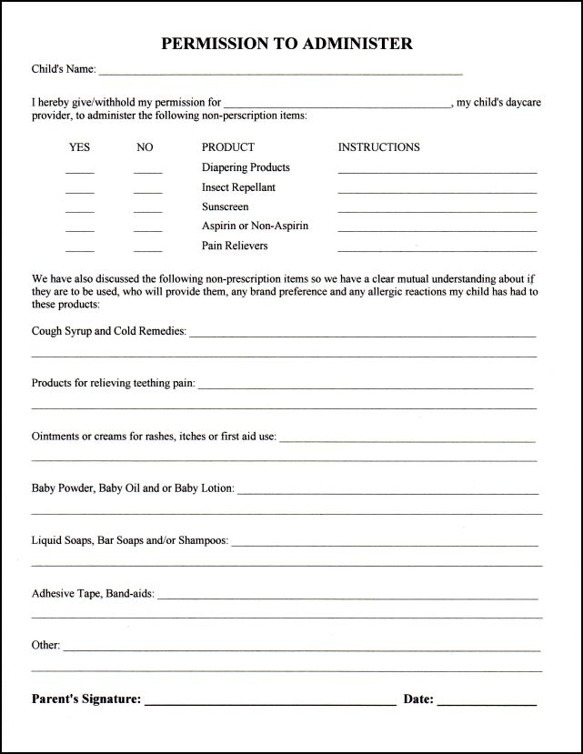 permission-to-administer Application For Child Care Enrollment Form on employee physical, tax statement, sample intake, subsidy application, printable staff evaluation, for providers printables,
